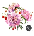 Peony and berry composition vector image