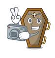 photographer coffin mascot cartoon style vector image vector image