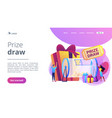 prize draw concept landing page vector image vector image