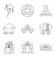 protection of nature icons set outline style vector image vector image