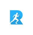 r letter run logo icon design vector image