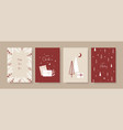 set hand drawn christmas greeting cards vector image