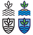 set land sea and sky mono-line emblems vector image