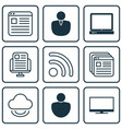 set of 9 online connection icons includes human vector image vector image