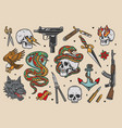 tattoos vintage colorful set vector image vector image