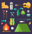 Tourist Equipment Set of Icons and in Flat Design vector image vector image