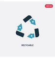 two color recycable icon from user interface vector image