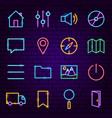 User interface neon icons