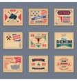 Vintage denim typography set vector image