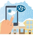 Weather smart phone snow vector image vector image