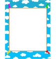 white sheet for text on blue sky background vector image vector image