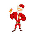 a funny santa is holding a small gift in his hand vector image