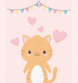 bashower cute little cat hearts love buntings vector image