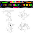 bat coloring book vector image vector image