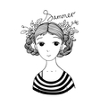 Beautiful young girl with braids and flowers vector image