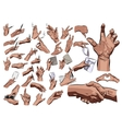 Big hands set on a white background EPS vector image