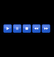 blue white square music control buttons set vector image