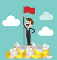 businessman standing on a huge tower stack of vector image vector image