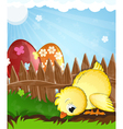 Chicken and painted eggs near a wooden fence vector image vector image