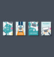 cloud computing flat style covers set media data vector image