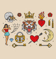 colorful vintage tattoos vector image vector image