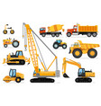 construction vehicles set heavy machines vector image