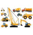 construction vehicles set heavy machines vector image
