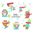cute animals enjoying snowboarding isolated vector image vector image