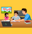 father teaching kids studying at home vector image