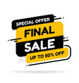 final sale banner discount tag special offer vector image vector image