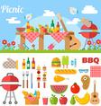 Flat Design Picnic BBQ elements vector image vector image