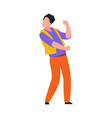 funny flat dancing man cute male character vector image