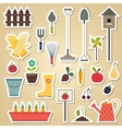 garden and gardening tools icon set on a light vector image