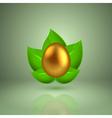Golden egg in green leaves vector image