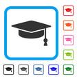 graduation cap framed icon vector image