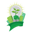 green leaf and earth in lightbulb in front of vector image