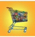 Grocery cart with food vector image