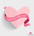 Happy Mothers Day with heart and ribbon vector image vector image