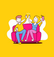 happy woman and man sitting on sofa high five vector image vector image
