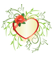 heart and green plants vector image vector image