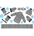 i love winter knitwear sweater hat mitten boot vector image