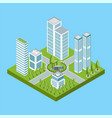 isometric residential quarter vector image vector image