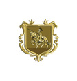 knight riding steed lance coat arms retro vector image vector image