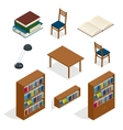 Library isometric icon set Publications storage vector image vector image