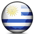 Map on flag button of Eastern Republic of Uruguay vector image vector image