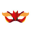 mask with feathers accessory carnival festival vector image vector image