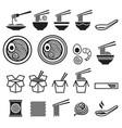 noodle icons set vector image