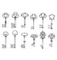 Old skeleton keys sketches set vector image vector image