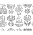 outline seamless pattern with scandinavian flowers vector image vector image