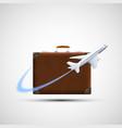plane flies round suitcase cargo delivery icon vector image vector image